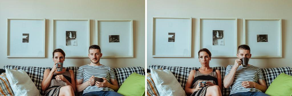 sesja narzeczenska w mieszkaniu